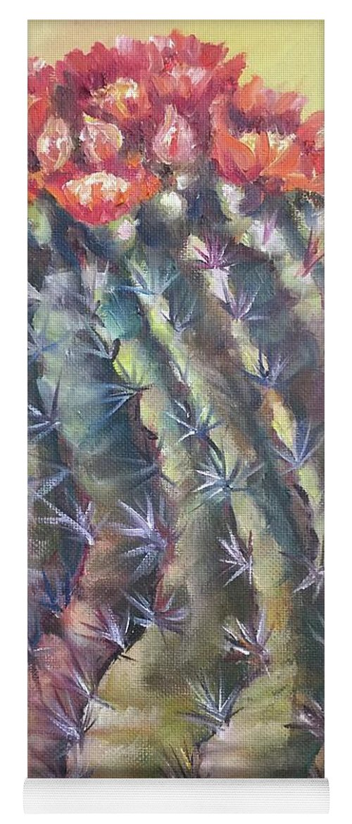 The Desert Cactus Is Not Just One Color And In The Bright Sun All The Colors Have A Glow All Of Their Own. The Greens Are Greener Yoga Mat featuring the painting Sun Kissed Barrel Cactus by Charme Curtin