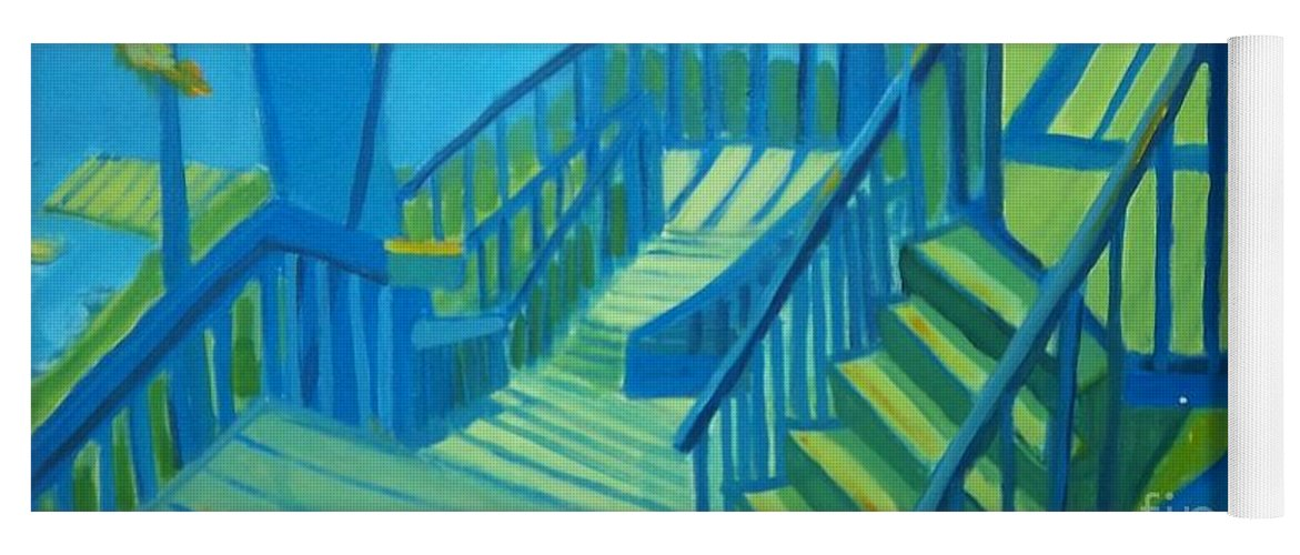 New Hampshire Yoga Mat featuring the painting Suncook Stairwell by Debra Bretton Robinson