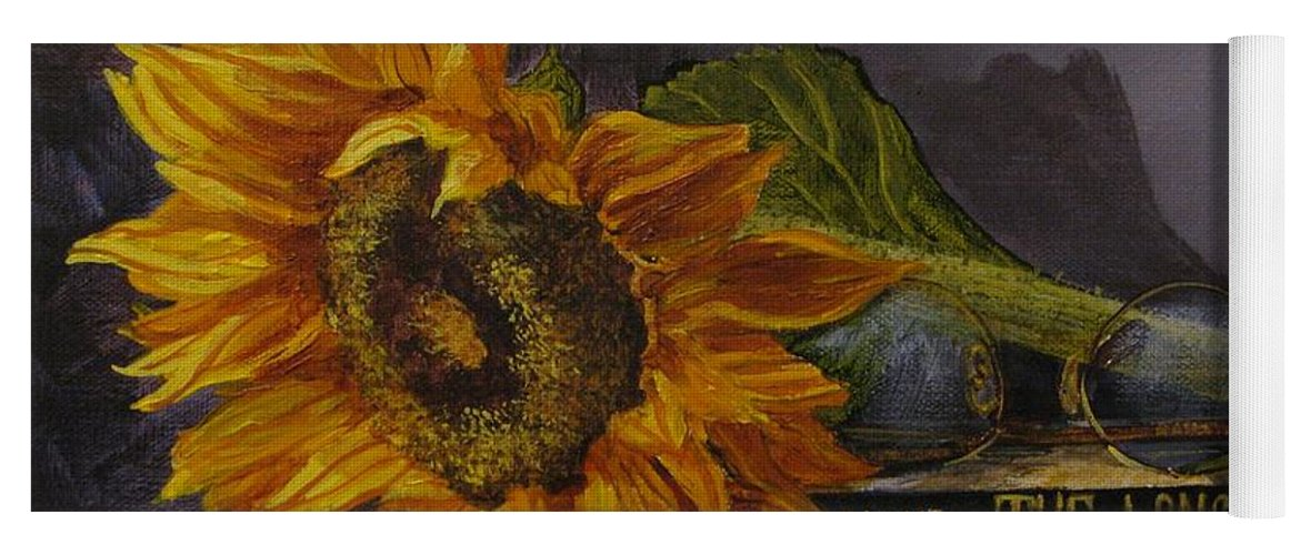 Judy Bradley Yoga Mat featuring the painting Sunflower And Book by Judy Bradley