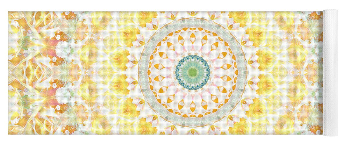 Sunflower Yoga Mat featuring the painting Sunflower Mandala- Abstract Art by Linda Woods by Linda Woods