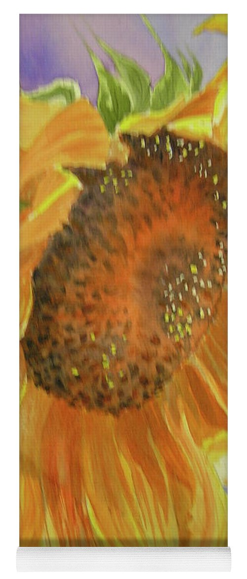 Sunflower Yoga Mat featuring the painting Sunflower by Midge Pippel