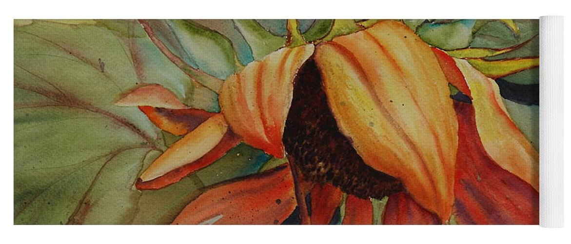 Sunflower Yoga Mat featuring the painting Sunflower by Ruth Kamenev