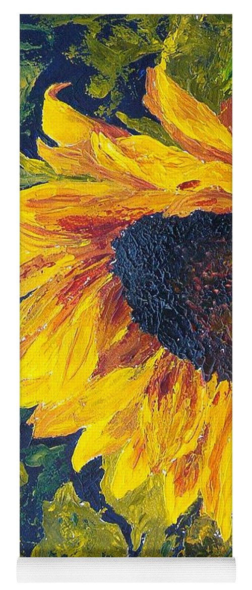 Yoga Mat featuring the painting Sunflower by Tami Booher