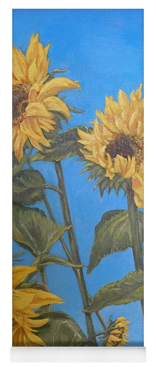 Sunflower Yoga Mat featuring the painting Sunflower by Travis Day