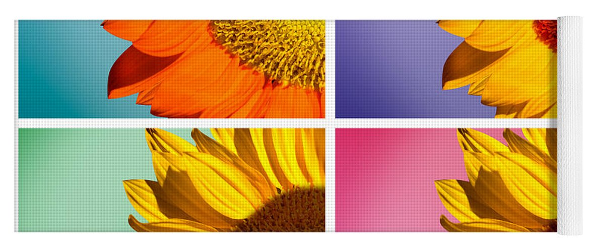 Sunflowers Yoga Mat featuring the photograph Sunflowers Collage by Mark Ashkenazi