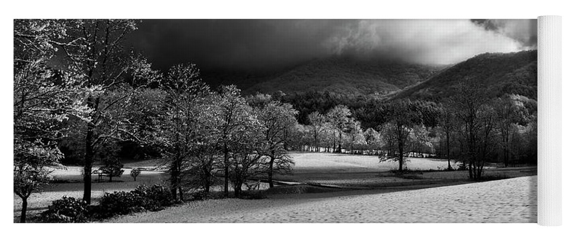 Snow Yoga Mat featuring the photograph Sunlight Clouds And Snow In Black And White by Greg Mimbs