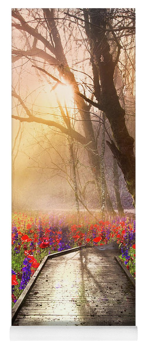 Appalachia Yoga Mat featuring the photograph Sunlit Wildflowers by Debra and Dave Vanderlaan