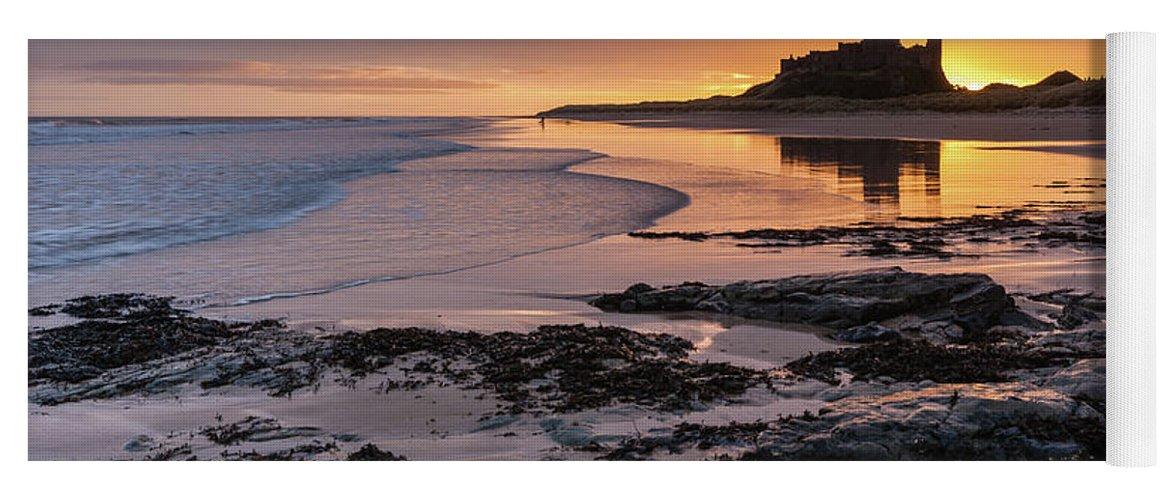 Sunrise Yoga Mat featuring the photograph Sunrise at Bamburgh Castle #4, Northumberland, North East England by Anthony Lawlor