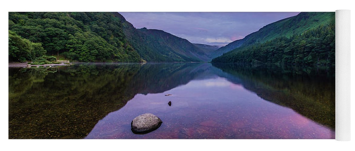 Sunrise Yoga Mat featuring the photograph Sunrise at Glendalough Upper Lake #1, County Wicklow, Ireland by Anthony Lawlor