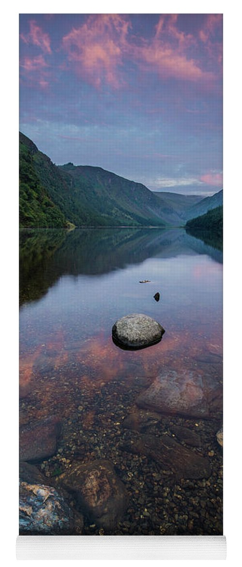 Sunrise Yoga Mat featuring the photograph Sunrise at Glendalough Upper Lake #2, County Wicklow, Ireland by Anthony Lawlor