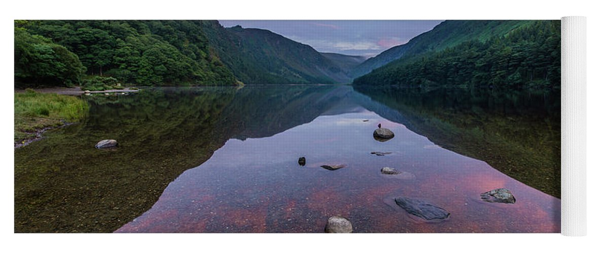 Sunrise Yoga Mat featuring the photograph Sunrise At Glendalough Upper Lake #3, County Wicklow, Ireland. by Anthony Lawlor