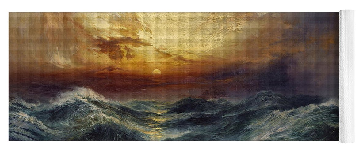 Sunset After A Storm Yoga Mat featuring the painting Sunset After A Storm by Thomas Moran
