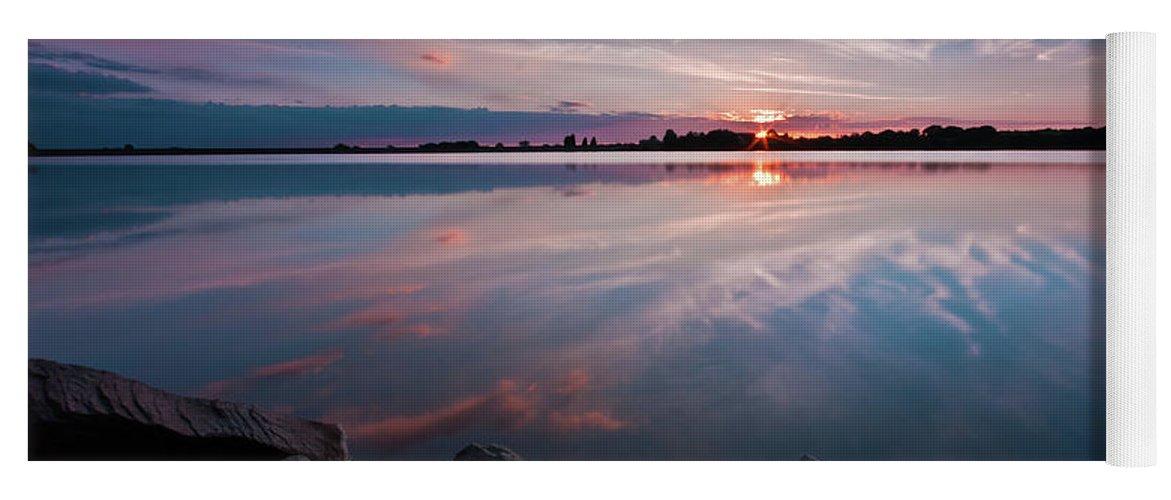 Sunrise Yoga Mat featuring the photograph Sunset at Anglezarke Reservoir #1, Rivington, Lancashire, North West England by Anthony Lawlor