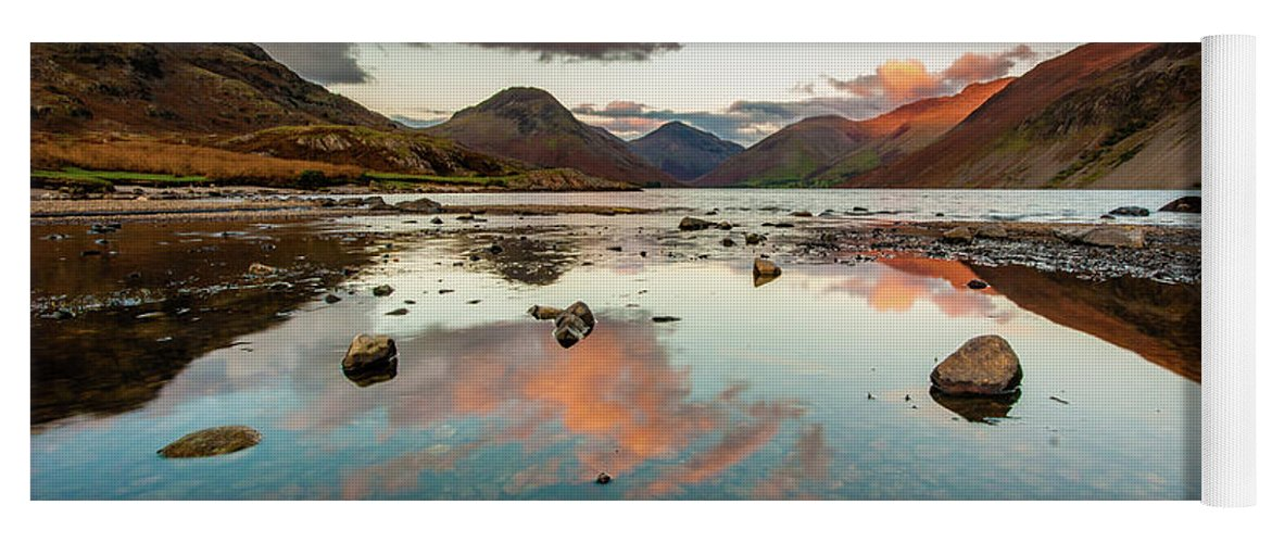 Sunrise Yoga Mat featuring the photograph Sunset at Wast Water #1, Wasdale, Lake District, England by Anthony Lawlor