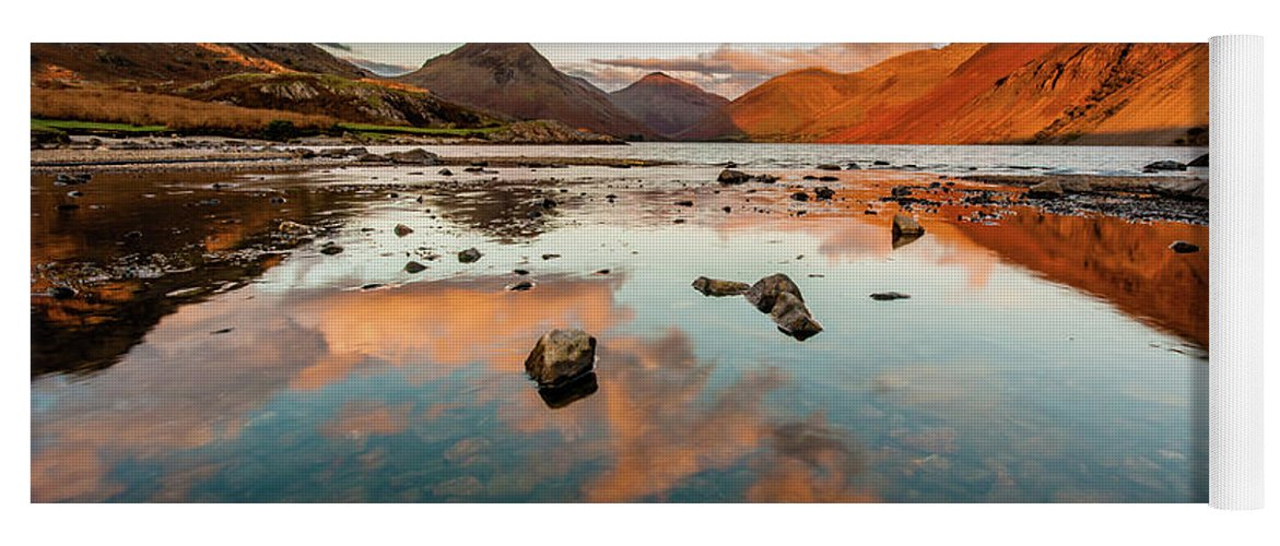 Sunrise Yoga Mat featuring the photograph Sunset at Wast Water #2, Wasdale, Lake District, England by Anthony Lawlor