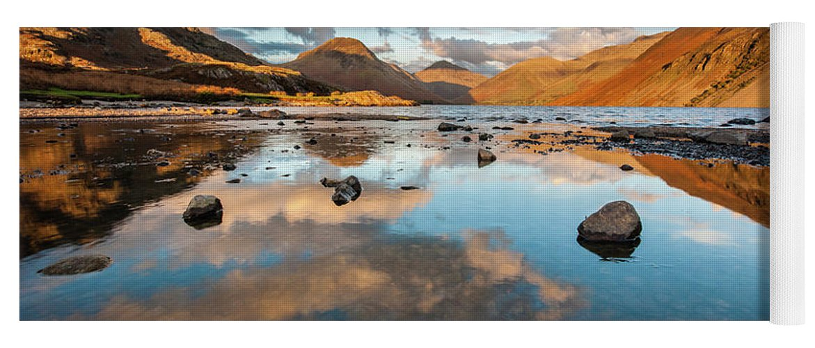 Sunrise Yoga Mat featuring the photograph Sunset at Wast Water #3, Wasdale, Lake District, England by Anthony Lawlor