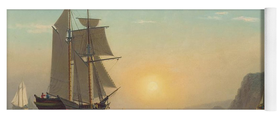 Boat Yoga Mat featuring the painting Sunset Calm In The Bay Of Fundy by William Bradford