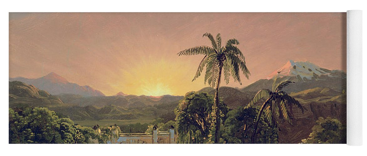 Sunset Sunset In Equador (oil On Canvas) By Frederic Edwin Church (1826-1900) Yoga Mat featuring the painting Sunset In Equador by Frederic Edwin Church