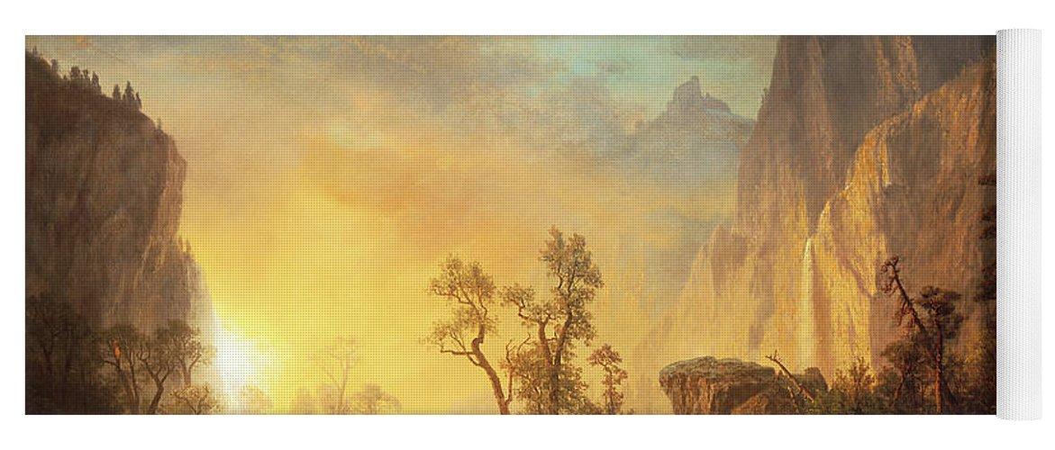 Bierstadt Yoga Mat featuring the painting Sunset in the Rockies by Albert Bierstadt