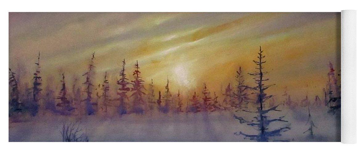 Winter Yoga Mat featuring the painting Sunset by Natalja Picugina