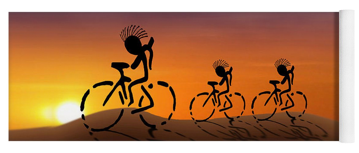 Kokopelli Yoga Mat featuring the digital art Sunset Riders by Gravityx9 Designs