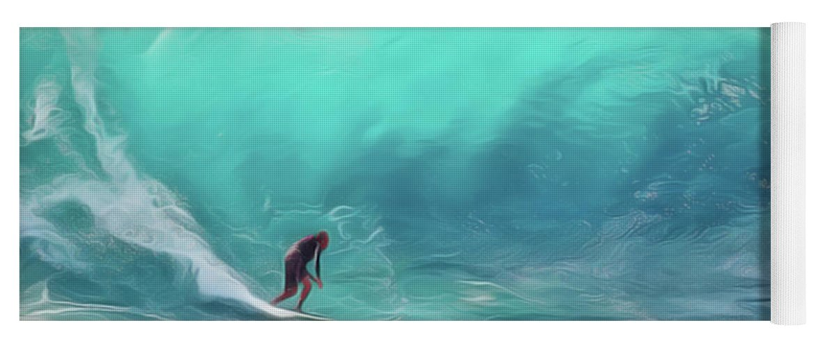 Surfing Yoga Mat featuring the painting Surfing by Harry Warrick