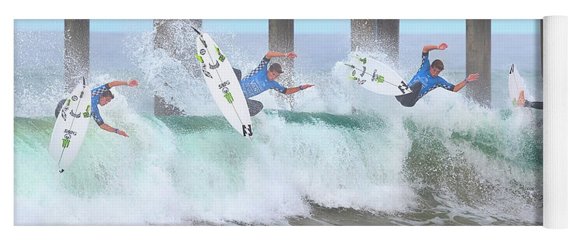 Us Open Of Surfing 2017 Yoga Mat featuring the photograph Surfing Sequence by Brian Knott Photography