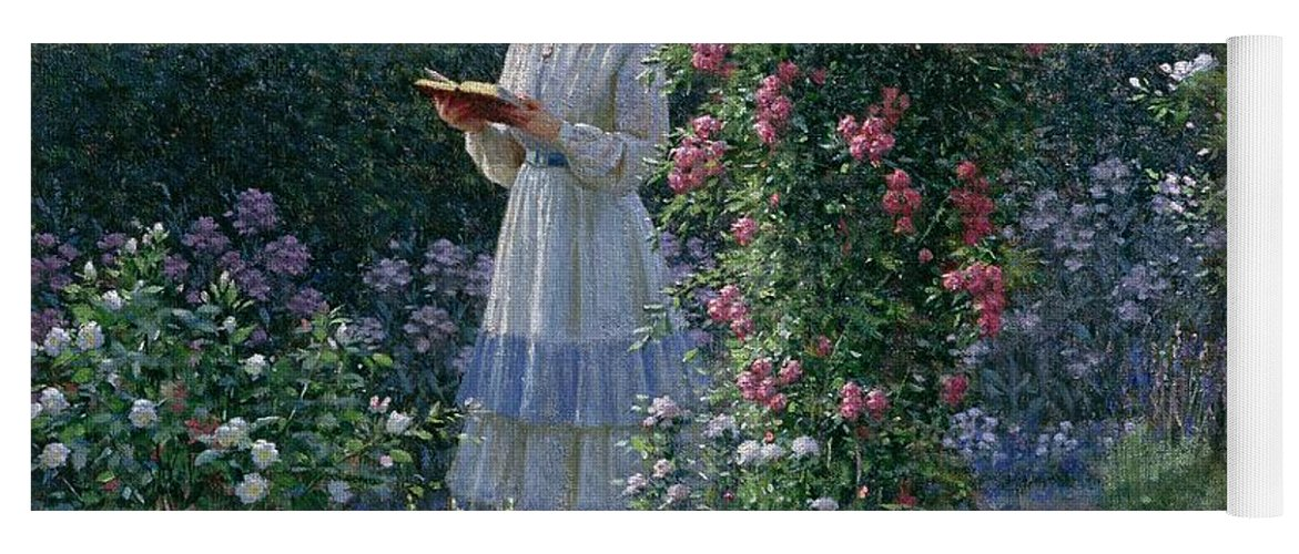 Garden; Reading; Book; Woman; Lawn; Flower;rose; Bed; Hedge; Climbing; Arch; Path Yoga Mat featuring the painting Sweet Solitude by Edmund Blair Leighton
