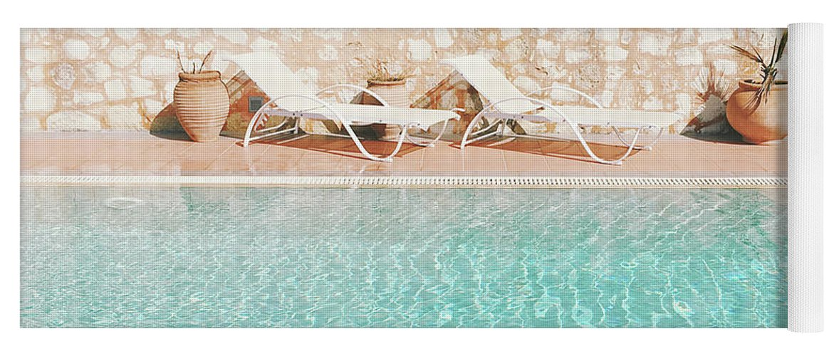 Water Yoga Mat featuring the photograph Swimming Pool V by Cassia Beck