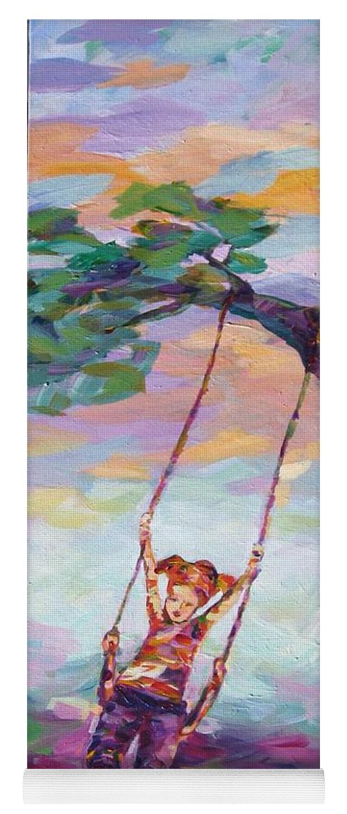 Child Swinging Yoga Mat featuring the painting Swinging With Sunset Energy by Naomi Gerrard