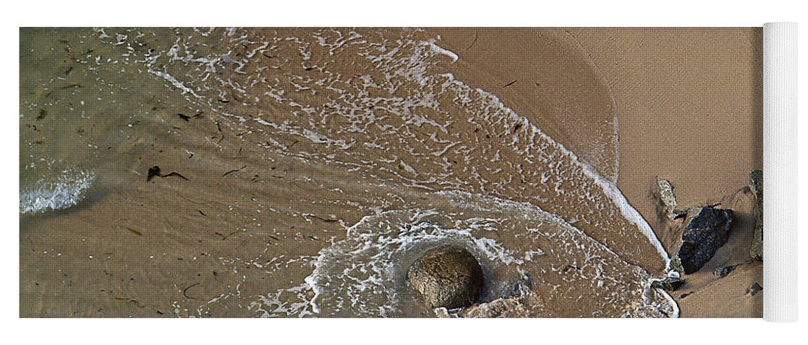 Big Sur Yoga Mat featuring the photograph Swirling Surf And Rocks by Charlene Mitchell