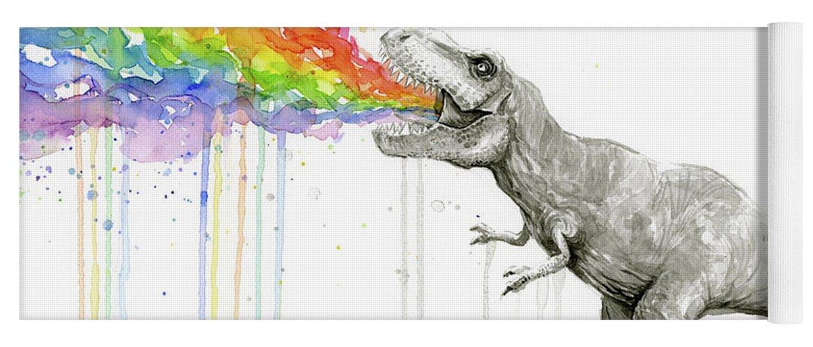 T-rex Yoga Mat featuring the painting T-rex Tastes The Rainbow by Olga Shvartsur