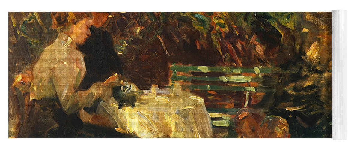 Shade Yoga Mat featuring the painting Tea In The Garden, by Walter Frederick Osborne