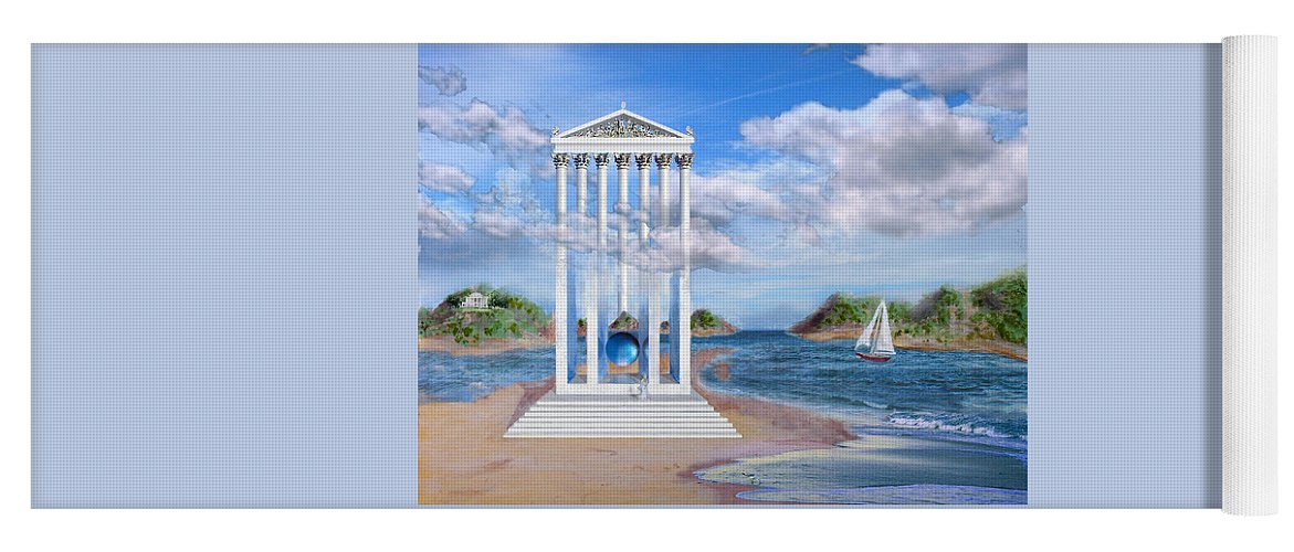 Landscape Yoga Mat featuring the painting Temple for No One by Steve Karol