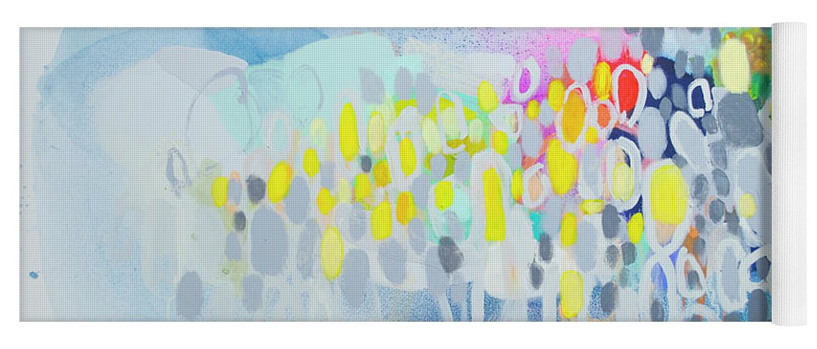 Abstract Yoga Mat featuring the painting Ten O'clock Flight by Claire Desjardins