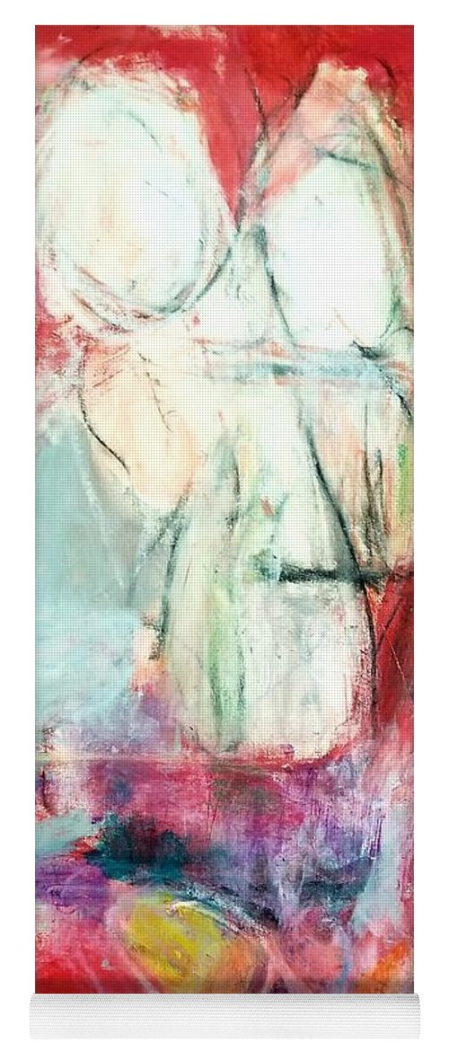 Red Yoga Mat featuring the painting Tete-a-tete by Patricia Byron