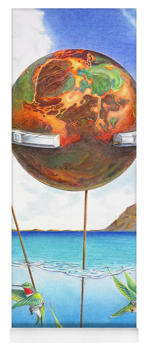 Surreal Yoga Mat featuring the painting Tethered Sphere by Melissa A Benson