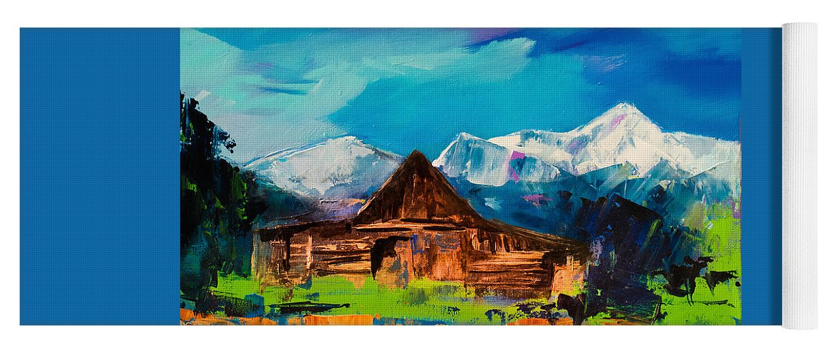 Barn Yoga Mat featuring the painting Teton Barn by Elise Palmigiani