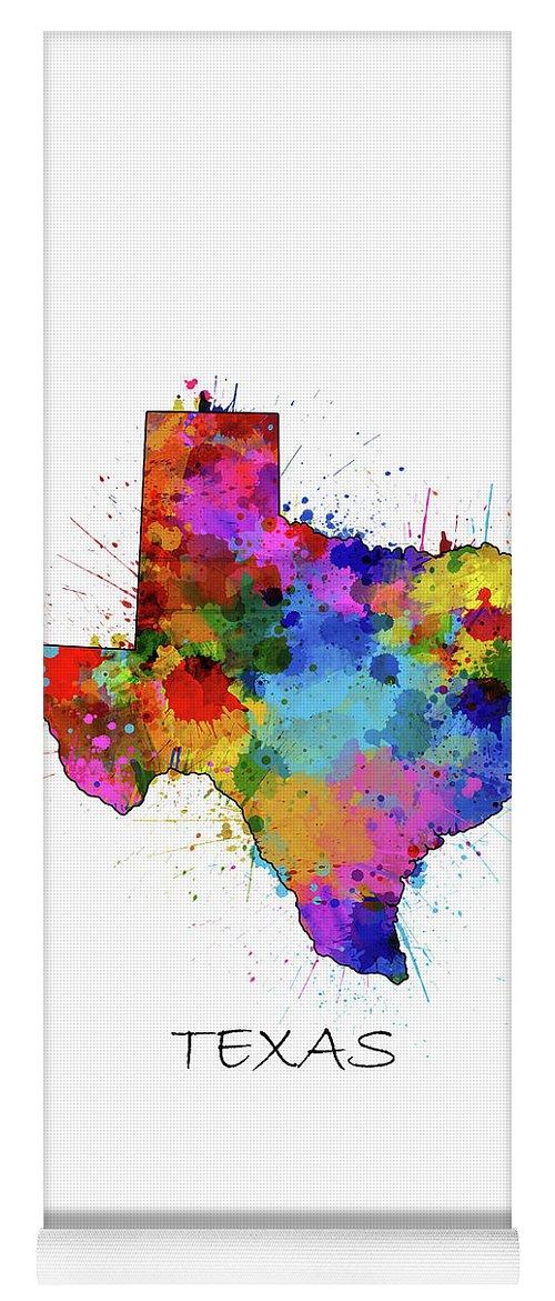 Texas Yoga Mat featuring the digital art Texas Map Color Splatter by Bekim M