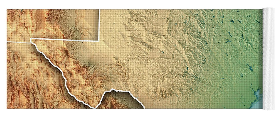 3d Map Of Texas.Texas State Usa 3d Render Topographic Map Border Yoga Mat