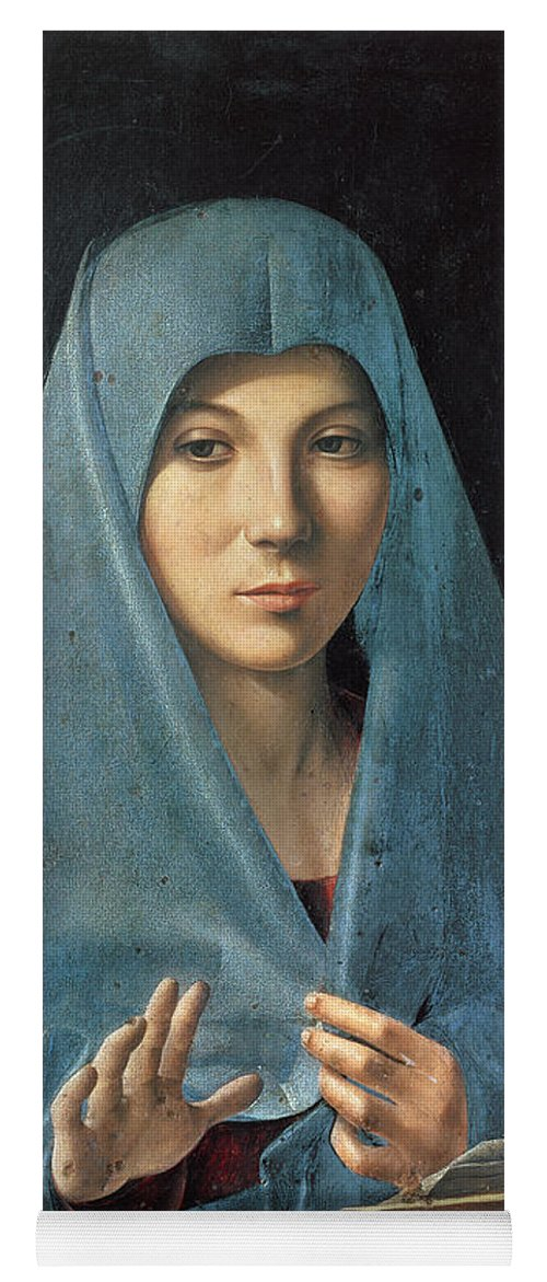 The Yoga Mat featuring the painting The Annunciation by Antonello da Messina