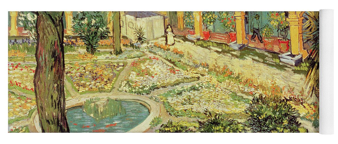 Vincent Van Gogh Yoga Mat Featuring The Painting The Asylum Garden At Arles  By Vincent Van
