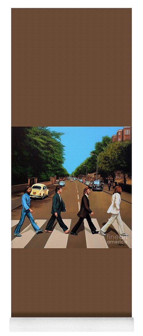 The Beatles Yoga Mat featuring the painting The Beatles Abbey Road by Paul Meijering