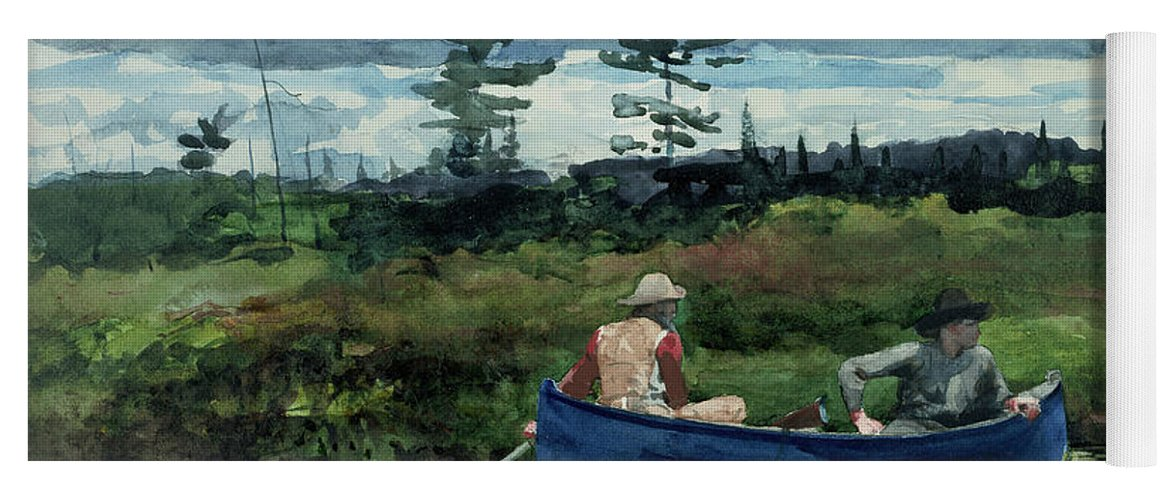 Winslow Homer Yoga Mat featuring the painting The Blue Boat by Winslow Homer