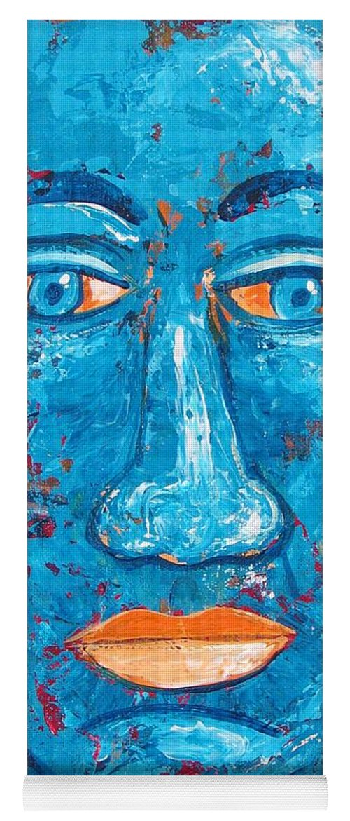 Man Yoga Mat featuring the painting Contemplative Blue by Rollin Kocsis