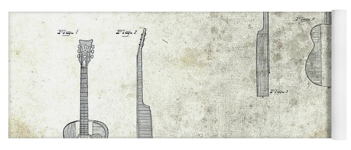 Buck Owens Guitar Patent Yoga Mat featuring the mixed media The Buck Owens Guitar Design by Dan Sproul