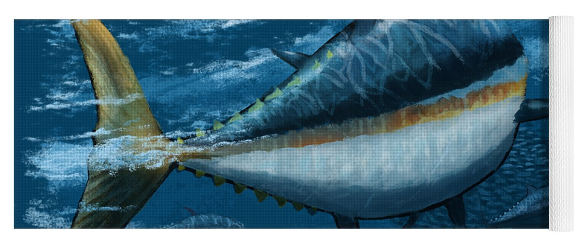 Tuna Yoga Mat featuring the digital art The Chase by Kevin Putman