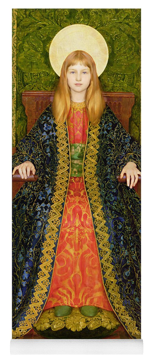 Throne; Girl; Pre-raphaelite; Portrait; Female Yoga Mat featuring the painting The Child Enthroned by Thomas Cooper Gotch