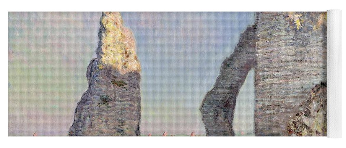 The Cliffs At Etretat Yoga Mat featuring the painting The Cliffs at Etretat by Claude Monet
