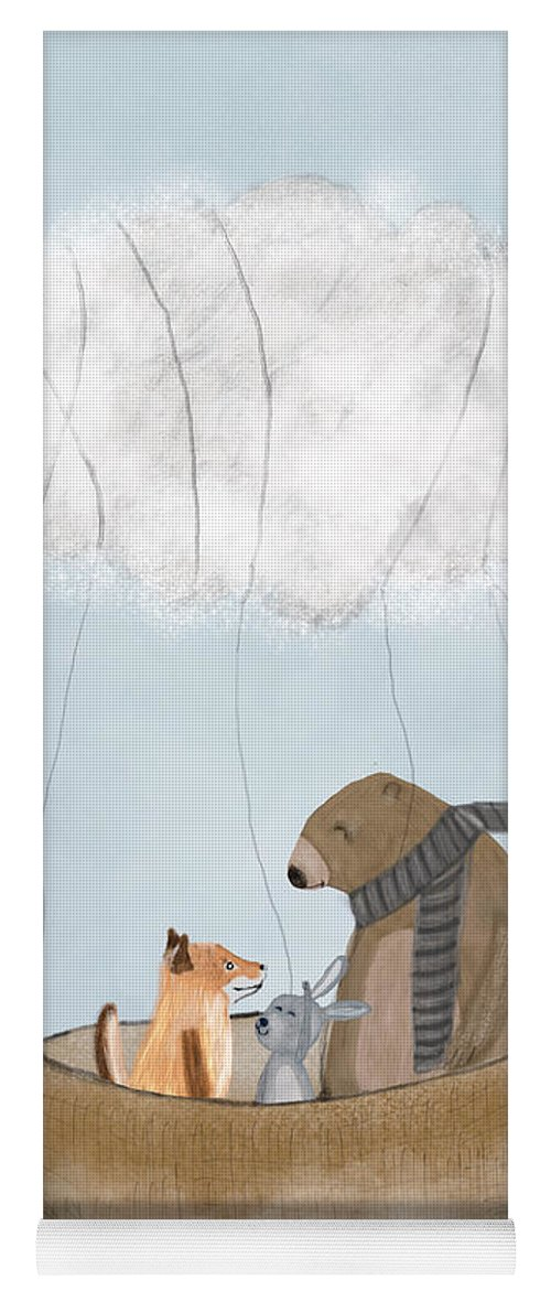 Animals Yoga Mat featuring the painting The Cloud Balloon by Bri Buckley